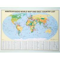 Carte Mondiale Radioamateurs Préfixée Grand Format